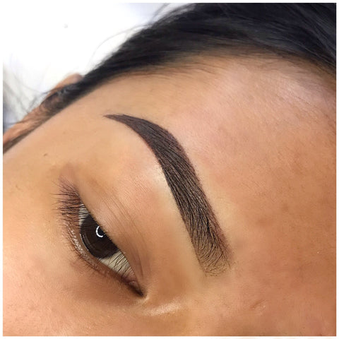 Girl with beautiful ombre brow tattoo at Tham Vo Studio Melbourne