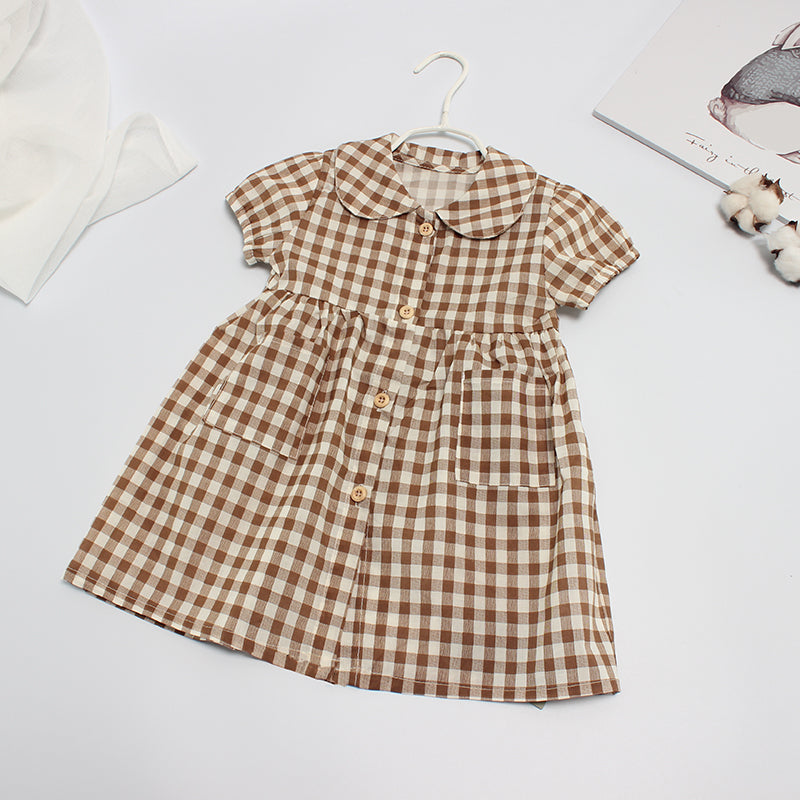 Fashionable Girls Short Sleeve Lapel Plaid Pocket Dress