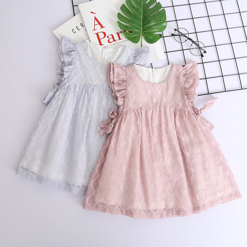 Girls Chiffon Fly Sleeve Dress Lovely Sweet Solid Color Princess Skirt