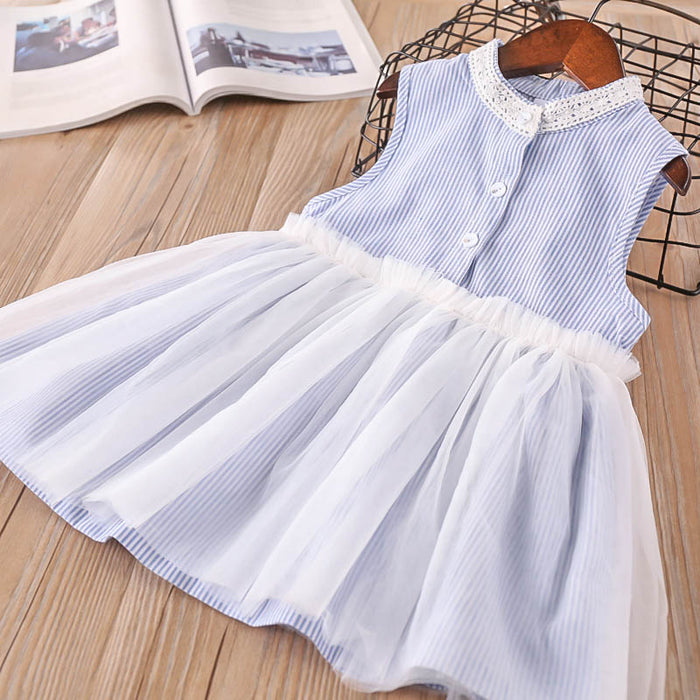Girls Lace Mesh Dress Stripe Sleeveless Stand Collar Princess Skirt