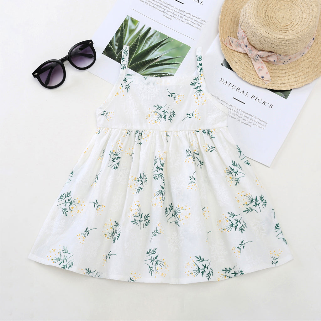 Toddler Girls Cute Allover Print Suspender Dress Princess Dress