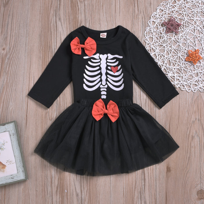 Halloween Girls Bow Long Sleeve Top Mesh Skirt