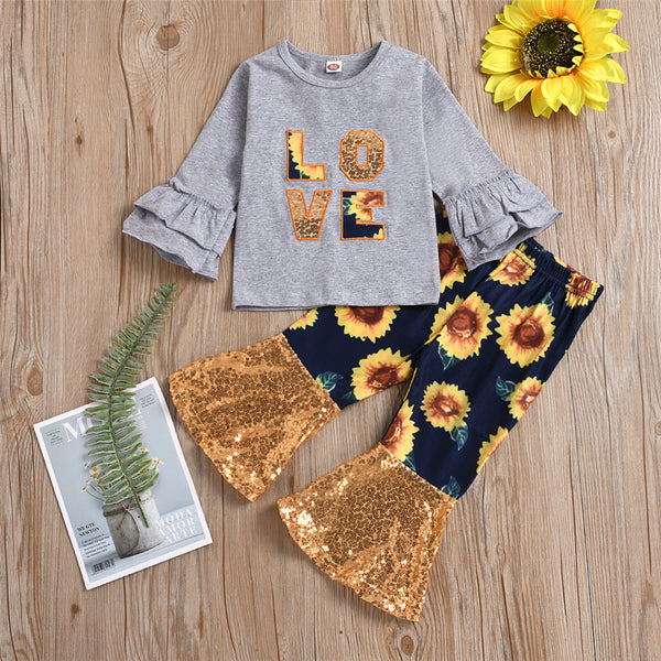 Girls Sunflower Flared Sleeve Love Top & Sequin Bell Pants Wholesale Girls