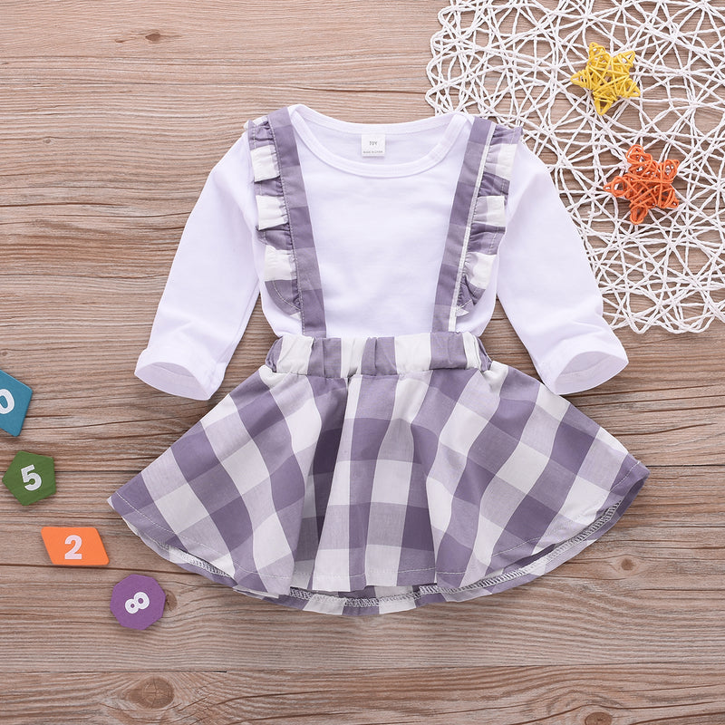 Toddler Girl Cotton Long Sleeve Plaid Strap Skirt