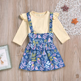 Toddler Girl Long Sleeve T-Shirt Top Cartoon Bird Flower Strap Skirt