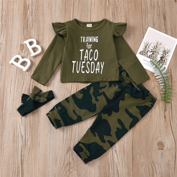 Girls Letter Camo Printed Top & Trousers Wholesale Clothing For Girls