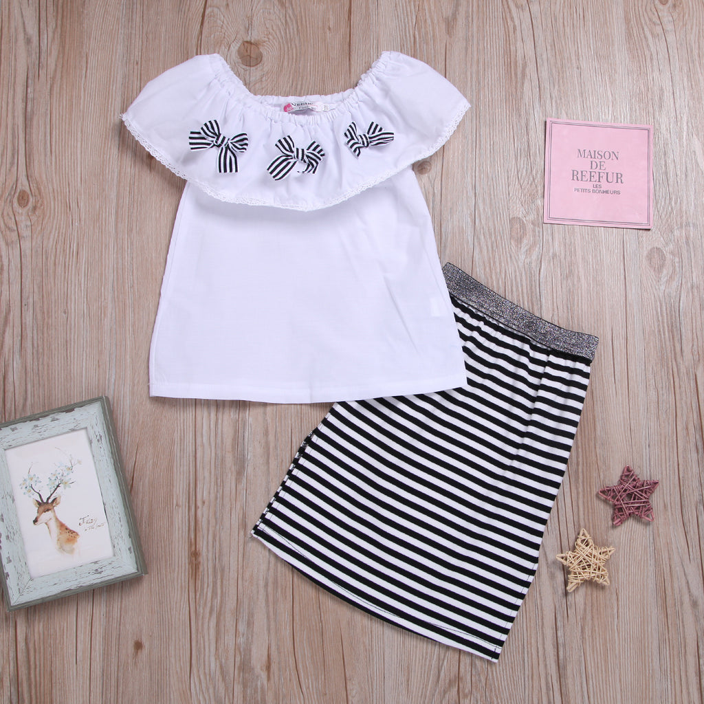 Fashionable Girls One Word Collar Ruffle Top Stripe Skirt