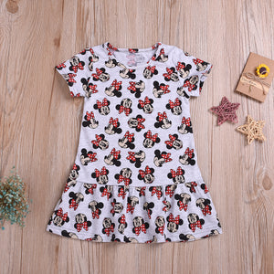 Fashionable Girls Round Neck Short Sleeve Dress Mickey Mouse Dress