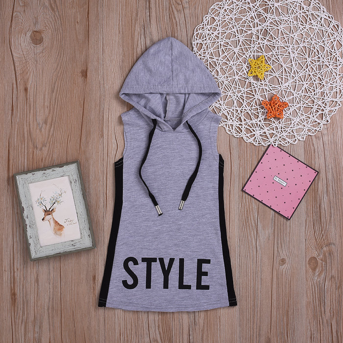 Girls Sports Lettering Sleeveless Hooded Dress