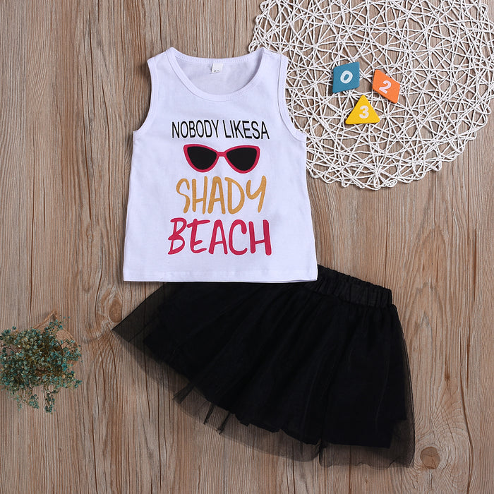 Toddler Girls Sleeveless Letter Print Top Solid Color Mesh Skirt