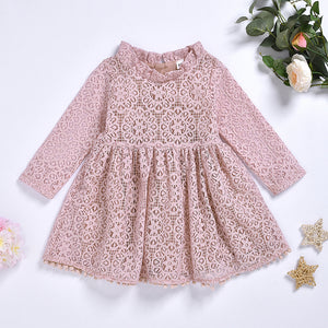 Fashionable Girls Pink Mesh Dress Ruffle Collar Princess Skirt
