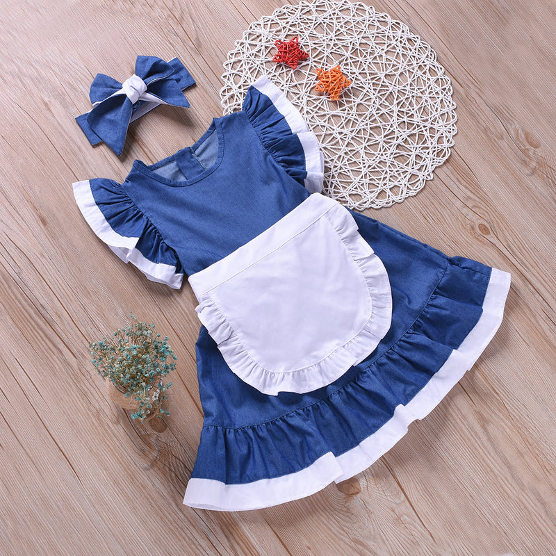 Fashionable 2-Piece Cute Solid Color Fly Sleeve Dress
