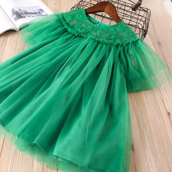 Girls Lace Flower Embroidery Dress Loose Mesh Princess Dress