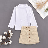 Fashionable Girls Solid Color Half Turtleneck Knit Top & Pocket Skirt