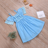 Fashionable Girls Ruffle Trim Solid Color Lace Suspender Dress