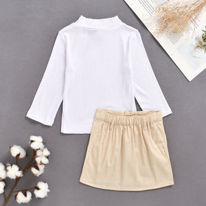 Fashionable Girls Solid Color Half Turtleneck Knit Top Pocket Skirt