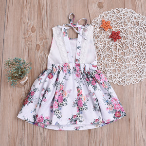 Girl Print Dress Backless Dress