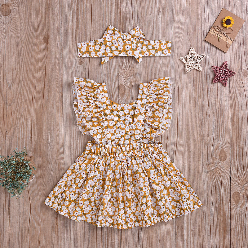 Toddler Girls Floral Dress Lovely Suspender Princess Skirt & Headdress