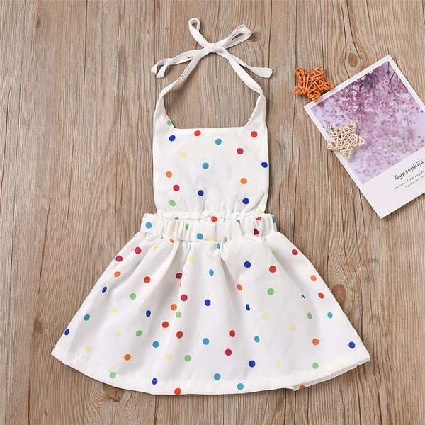 Baby Girls Rainbow Polka Dot Tie Dye Summer Dress Baby Clothes Wholesale Suppliers