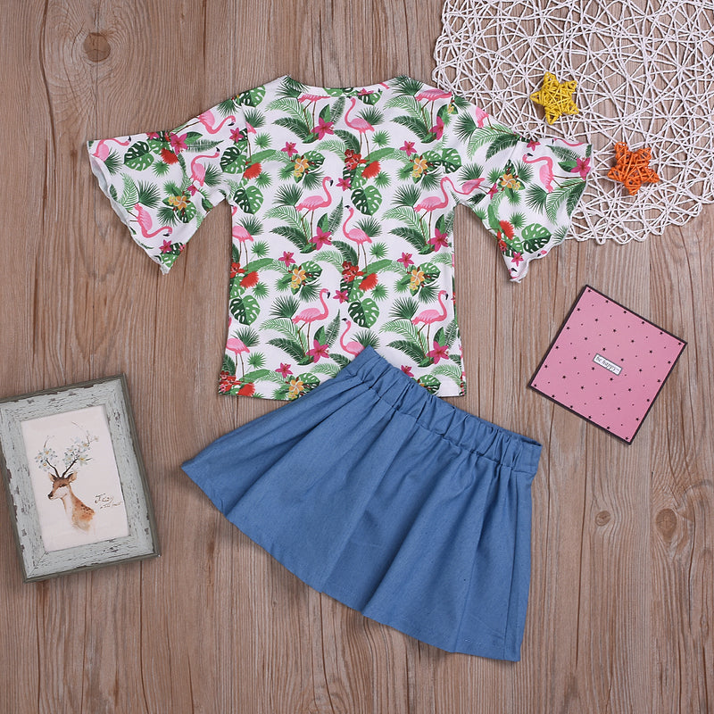 Fashionable Girls Flamingo Top & Denim Skirt