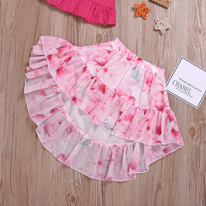 2-Piece Suspender Top Printed Tail Skirt For Toddler Girls And Girls