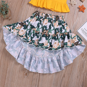 2-Piece Suspender Ruffled Top Printed Skirt For Toddler Girls And Girl