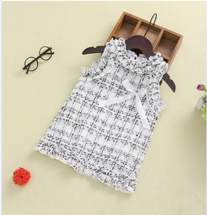 Fashionable Girl Sleeveless knitted Plaid Dress Bow Ruffled Neck Skirt