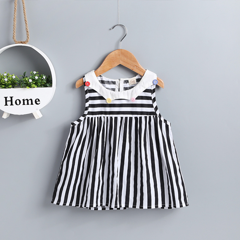 Toddler Girl Fashion Striped Button Skirt Round Neck Sleeveless Dress