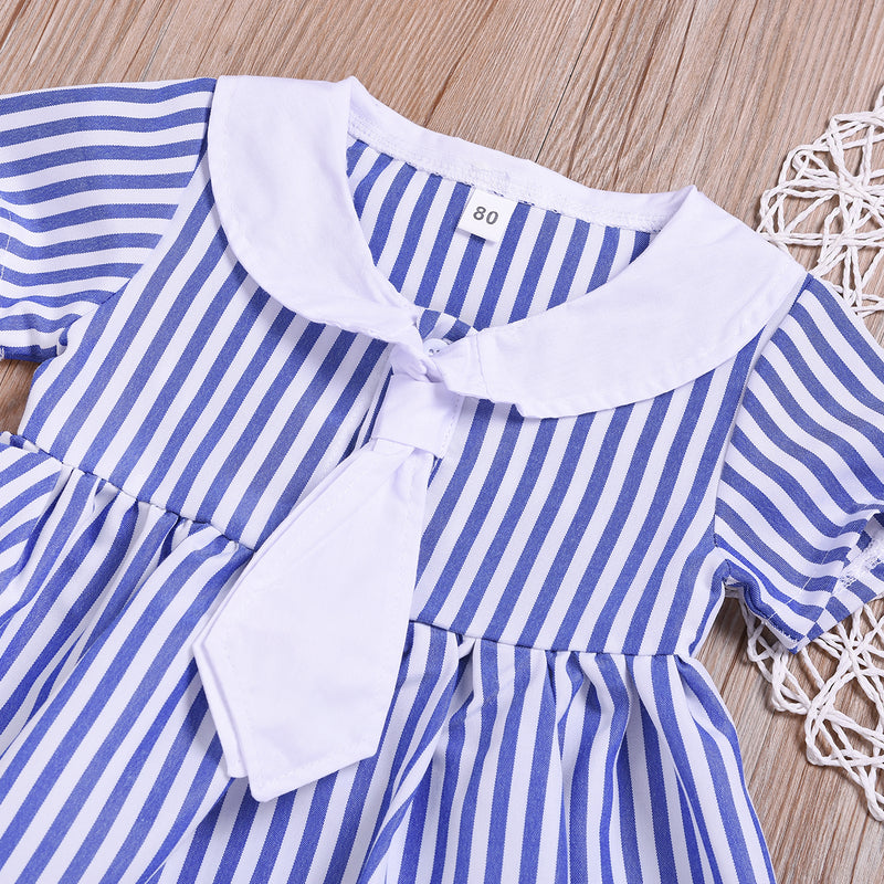 Toddler Girls Blue Striped Doll Collar Princess Dress