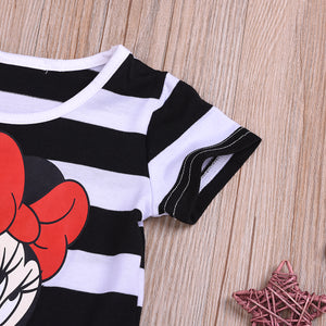 Fashionable Girls Round Neck Striped Dress Mickey Mouse Cartoon Dress