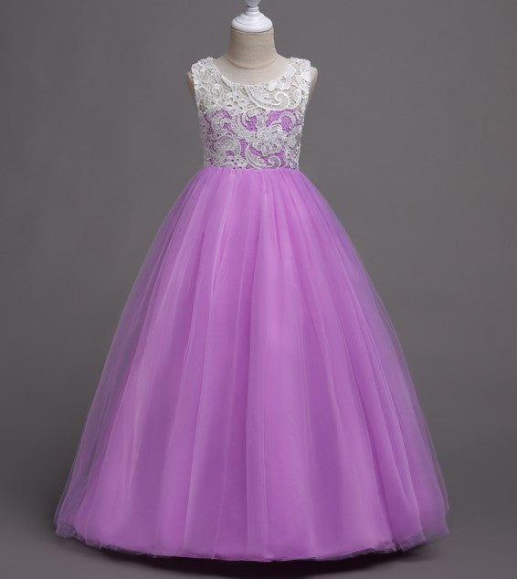 Beautiful Girl Prom Dress Lace Dress Tulle Evening Dress Host Dress