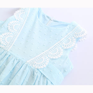Girls Lace Vest Skirt Solid Color Sleeveless Princess Dress