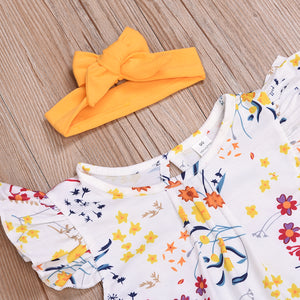 3- Piece Floral Print Fly Sleeve Top Suspender Skirt For Toddler Girls