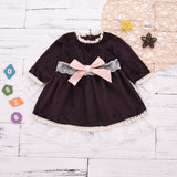 Toddler Girl's Lace Round Neck Lace Long Sleeve Princess Skirt