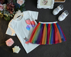 2-Piece Cute Cartoon Top And Rainbow Mesh Skirt For Girls