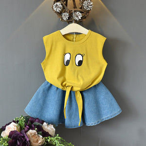 Girls Cute Cartoon Big Eyes Sleeveless Top And Denim Short Dress