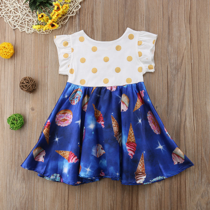 Toddler Girls Polka Dot And Ice Cream Cartoon Print Dress