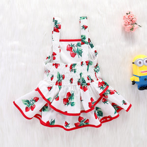 Girls Cute Strawberry Print Dress Suspender Backless Princess Skirt