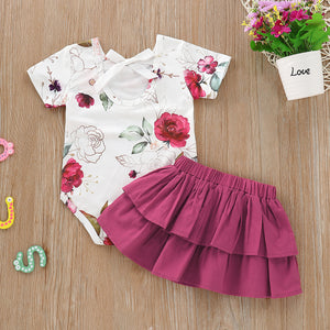 Toddler Girls Floral Print Top And Layered Solid Color Skirt