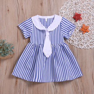 Toddler Girls Tie Striped Dress Doll Collar Princess Dress