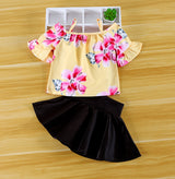 Toddler Girls Woven Print Top Solid Color Pleated Princess Skirt