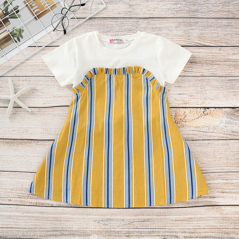 Toddler Girls Cute Short Sleeve Striped Color Contrast Princess Dress