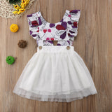 Toddler Girls Print Back Tie-Back Mesh Princess Dress