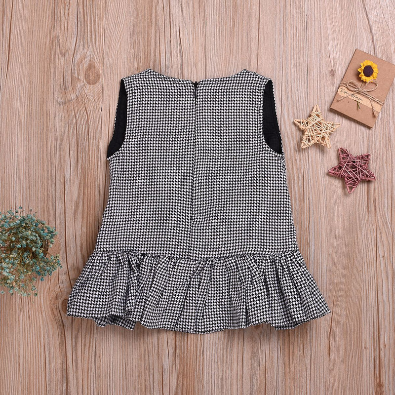 Toddler Girls Plaid Bow Pleated Dress