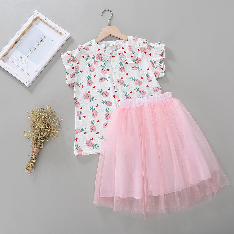 Girls Lapel Pineapple Print Top And Solid Color Mesh Princess Skirt