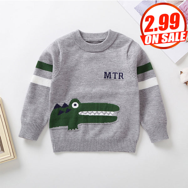 10PCS No Profit On Sale Clearance & Closeout Specials Boys Crocodile Cartoon Long Sleeve Knitted Sweaters wholesale infant clothing