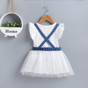 Baby Girls Solid Color Top And Mouse Print Suspender Mesh Skirt