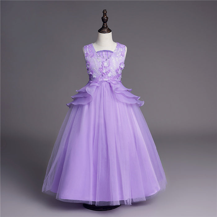 Lavender Long Dress Girl Beaded Wedding Dress Flower Girl Dress