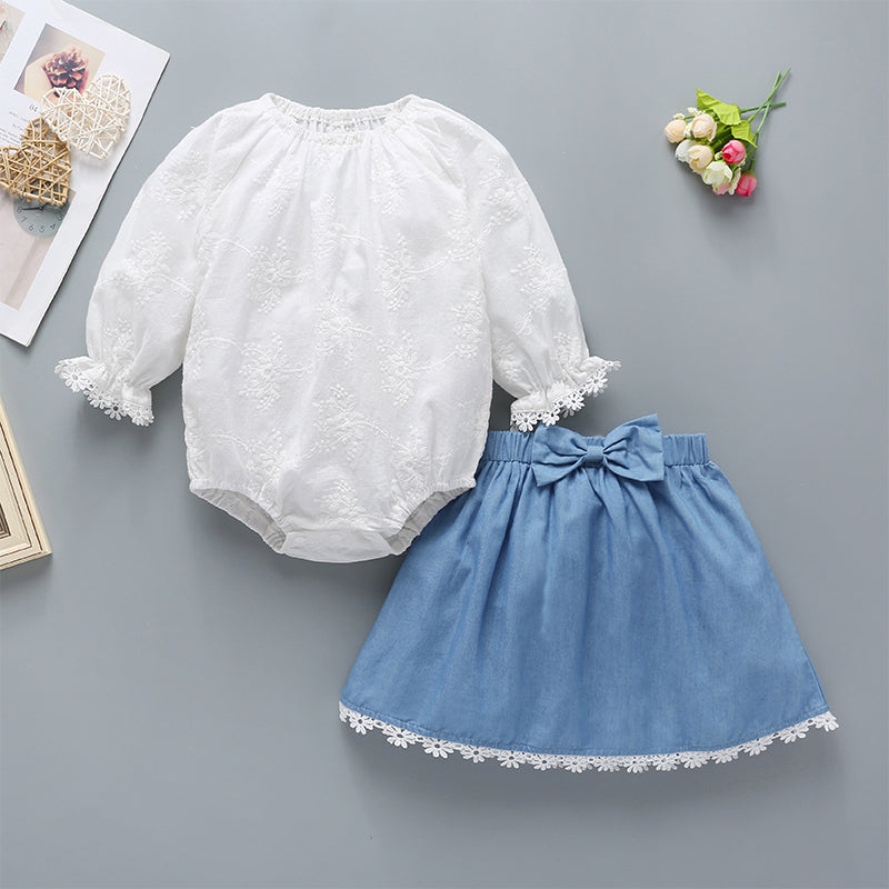 Baby Girls Lace Round Neck Top And Bowknot Decor Lace Denim Skirt
