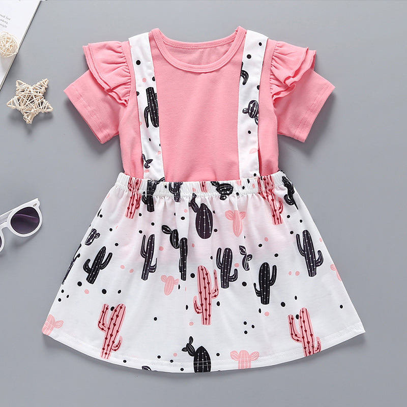 2-Piece Ruffled Top And Cactus Print Suspender Dress For Baby Girls
